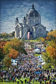 View of the 2010 Medtronic Twin Cities Marathon finish line seen from the steps of the Minnesota State Capitol building looking down John Ireland Boulevard up to the Cathedral of Saint Paul on the hill. Photo by stonebridgedapper on Flickr.