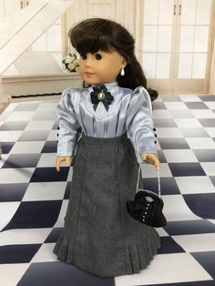 Excited to share this item from my shop: Smokey Gray Day Victorian skirt and blouse /purse / fits american girl type dolls Poupées Our Generation, Ag Doll Clothes, Ag Clothing, Historical Clothing, Victorian Dolls, Antique Dolls, American Girl Clothes, American Girls, Girl Dolls