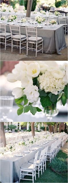 Photo: Jose Villa Photography; Silver, white, gray wedding color reception idea;