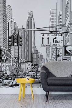 Feel like you're living in a comic strip with this amazing New York city wallpaper mural. Taking you right in the middle of an illustrated New York city scene, this unique black and white mural will take centre stage of any home. It's ideal for modern living room spaces or creative home offices looking for some inspired imagery.