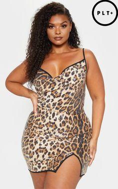 c04b4f9217 Plus Leopard Sequin Cowl Neck Bodycon Dress Big Girl Fashion, Cowl Neck,  Plus Size