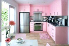 White Kitchen with Pink & Purple Appliances – Amazing Architecture Magazine Pink Kitchen Cabinets, Pink Kitchen Appliances, Kitchen Walls, Pink Kitchens, Modern Kitchens, Kitchen Modern, Kitchen Decor Themes, Home Decor Kitchen, Interior Design Kitchen