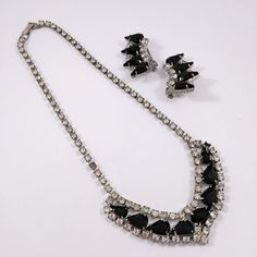 Necklace is missing one clear rhinestone and has one hazy stone. One necklace and one pair of clip on earrings. Black glass and clear glass rhinestones set in a silver tone setting. Black Rhinestone, Rhinestone Necklace, Vintage Rhinestone, Crystal Rhinestone, Goth Jewelry, Antique Jewelry, Vintage Jewelry, Fashion Jewelry, Jewelry Sets
