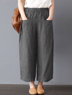 Only shop women stripe elastic waist wide leg pants at Buy fashion trousers pants online Banggood Mobile Only shop women stripe elastic waist wide leg pa. Trouser Pants, Linen Pants, Wide Leg Pants, Adidas Pants, Ankle Pants, Harem Pants, Casual Pants, Casual Outfits, Fashion Pants