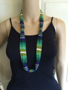 Karina's beaded necklace 37 round with 1.25 por ArtesaniasBatyah