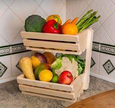 2 tier Medium Wooden Vegetable fruit food storage rack Classic