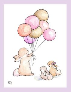 Children Art Print. Balloons for Bunnies. GIRLS. PRINT 8X10. Nursery Art Home Decor