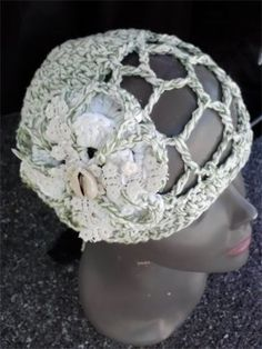 CROCHET 1 HAT DAILY! Day 293  AWE!Some Crochet by Gina Renay #cotton #beach #spring #summer #mesh #natural #cool #hat #shell #crochet #lace #embellishment