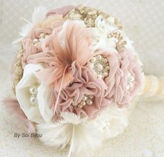 Brooch Bouquet Vintage-Style in Ivory, Champagne, Blush and Dusty Rose with Feathers, Burlap, Linen, Lace and Pearls