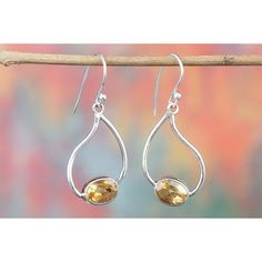 Amazing 925 Sterling Silver Gemstone Faceted Citrine Earring for Woman via Polyvore featuring jewelry, earrings, sterling silver gemstone jewelry, sterling silver jewelry, gemstone jewellery, sterling silver jewellery and gemstone jewelry
