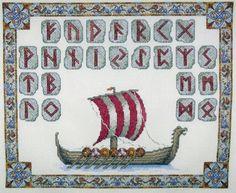 Viking long-ship with runes cross-stitch