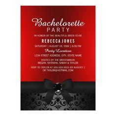 Pretty Black & Red Bow Bachelorette Party Invite