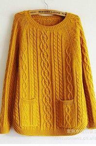 Колоритные араны и уютные карманы - свитер спицами