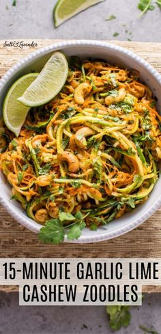 These 15 minute garlic lime cashew zoodles are a super easy and healthy vegan meal option. This is a snap to make, and the sauce is addictive! Time to dust off your spiralizer and make these delicious zucchini noodles. Vegan Dinner Recipes, Veggie Recipes, Whole Food Recipes, Vegetarian Recipes, Chicken Recipes, Cooking Recipes, Healthy Chicken, Vegan Zoodle Recipes, Healthy Noodle Recipes