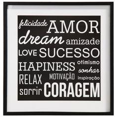 Felicidade, amor, sucesso, coragem... são palavras positivas que queremos sempre presentes em nossas vidas. #picture #frame #decoratingideas #decorate #art #photography #painting #quadrosdefrases #quadropalavraspositivas