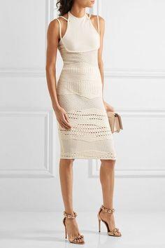 Esteban Cortazar - Cotton-blend Crochet-knit Halterneck Dress - Ecru - x small
