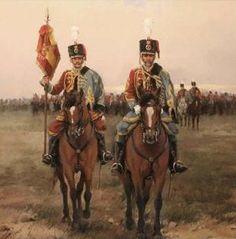 Húsares de Pavia 1900 Coronel y estandarte Military History, Victorian Era, Warfare, Troops, Spanish, Empire, Arms, Costumes, Artwork