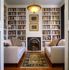 No TV over the fireplace. Hooray. Just stretch out on the sofa and read books. Or talk to each other.