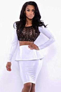 White Peplum Skirt Set with Black Fish Net Top US$22.21