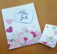 einfache DIY Glückwunschkarte zur Hochzeit oder Valentinstag - Bastelmädchen #wedding #herz #valentines