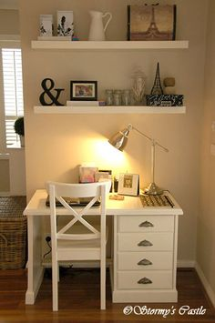 Stormy's Castle: My study nook in the family room. I painted a 20 year old pine desk, changed the handles to drawer pulls, and combined it with 2 IKEA LACK shelves, an IKEA INGOLF chair and IKEA BAROMETER lamp.