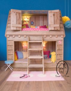 Bunk Beds Adjust, People Do Not. – Bunk Beds for Kids Bunk Bed Playhouse, Kids Bunk Beds, Wood Playhouse, Indoor Playhouse, Sleeping Nook, Bunk Bed Designs, Childrens Beds, House Beds, Little Girl Rooms