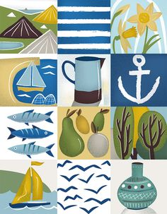 Cornish grid illustration of boats, fishes, daffodils and pottery. By Elly Jahnz for Seasalt Cornwall.