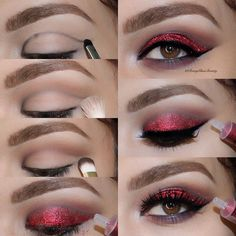 Make-Up Makeup romyglambeauty IG: romyglambeauty Bronze Eye Makeup, Red Eye Makeup, Asian Eye Makeup, Halloween Eye Makeup, Makeup Set, Smokey Eye Makeup, Party Makeup, Eyeshadow Makeup, Makeup Looks