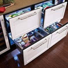 Chest style refrigerators and freezers are significantly more efficient, and these look awesome.