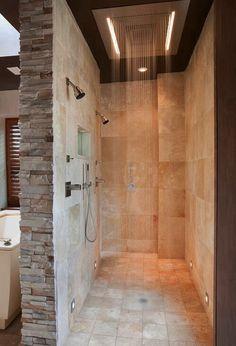 Stone shower, love the no door look just needs a bench