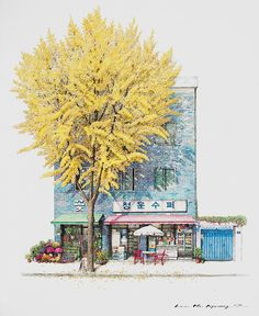 Lovely drawings of South Korean convenience stores by artist Me Kyeoung Lee. More images below. Me Kyeoung Lee's Website Me Kyeoung Lee … Continue reading → City Art, Building Illustration, Illustration Art, Korean Illustration, Colossal Art, Jolie Photo, Urban Sketching, Korean Artist, Great Artists