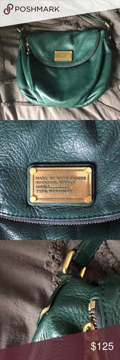 Marc by Marc Jacobs Emerald Green bag i have loved this bag but recently got a new go to bag so i have to find a new home for my baby! such a beautiful color! some signs of wear everything is pictured but if you have any questions i'd love to answer them! :) Marc By Marc Jacobs Bags