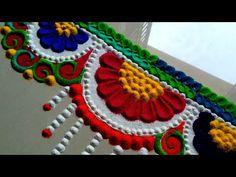 Very easy and innovative toran rangoli border/border design Simple Rangoli Designs Images, Rangoli Designs Flower, Rangoli Border Designs, Colorful Rangoli Designs, Rangoli Designs Diwali, Beautiful Rangoli Designs, Easy Rangoli, Rangoli Borders, Rangoli Patterns