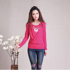 Nice Totem Embroidery Oriental Style Shirt - Pink - Chinese Shirts & Blouses - Women
