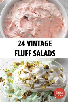 Our Fluffiest Vintage Fluff Salads is part of Dessert salads Marshmallows are an unexpected but undeniably delicious fruit salad component! Fluff Desserts, Jello Desserts, Dessert Salads, Jello Recipes, Fruit Salad Recipes, Pudding Desserts, Jello Salads, Recipe For Jello Salad, Salad With Fruit