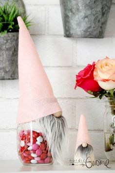 Hey, I found this really awesome Etsy listing at https://www.etsy.com/listing/506428997/gnome-mason-jar-topper-light-pink-with