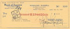 Rosalind Russell signed check