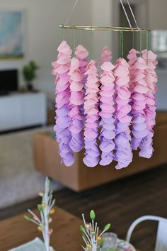 How to Make Paper Wisteria - This is one of those glorious DIYS that *looks* so much more complicated than it is. Easy, inexpensive DIY's are my jam.