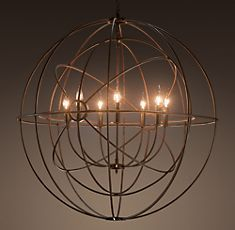 Foucault's Twin-Orb Iron Chandelier has multiple shells. Reminiscent of a gyroscope.