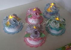 Birthday Cake Tea Light Candle or for by CindysGlass on Etsy Tea Light Candles, Tea Lights, Battery Lights, Light Cakes, Candle Craft, Birthday Cake With Candles, Paper Cake, Birthday Crafts, Paper Gifts