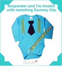 BabyK Suspender and Tie Onesie with matching Dummy Clip. Tie Onesie, Onesies, Cute Little Baby, Little Babies, Suspenders And Tie, Dummy Clips, Boy Outfits, Custom Made, Sweatshirts