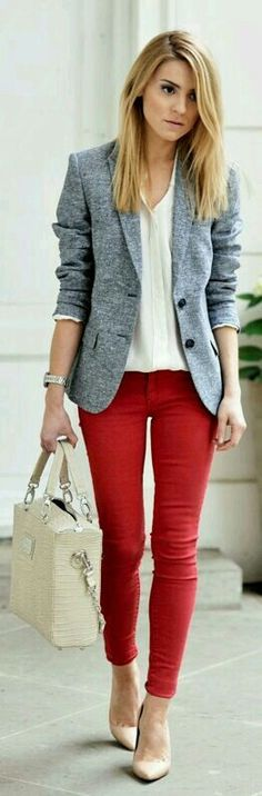 Love this color combo...red pants done right !!