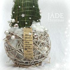 fehér - ezüst grincsfa Jade, Poinsettia, Christmas Bulbs, Santa, Merry, Holiday Decor, Home Decor, Noel, Decoration Home