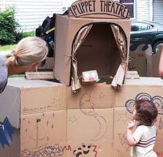 Cardboard puppet theatre at Skeleton Park Arts Festival, Kingston, Ontario