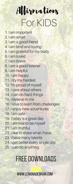 Affirmations for Kids - Lemonade Brain #parenting #psychologydaily #psychology #kids #lifewithkids #affirmationsforkids #affirmationsforchildren