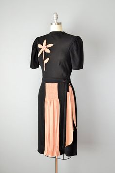 40s Dress // 1940s Black Crepe Dress with by OffBroadwayVintage