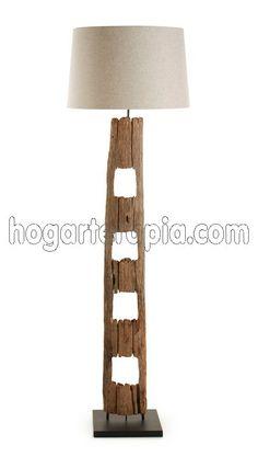 Lámpara de pie TELDA fabricada con madera tropical y pantalla de algodón 100%. Se enciende con el pie. Una lámpara muy natural creada con trozos de madera. Driftwood Lamp, Driftwood Crafts, Barn Siding, Scrap Wood Projects, Raw Wood, Elements Of Design, Unique Lamps, Types Of Lighting, Wooden House