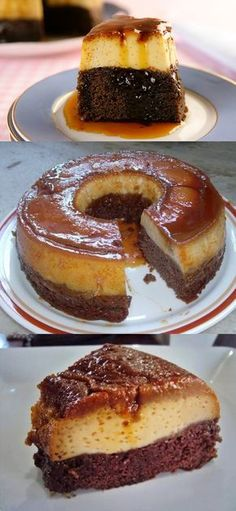 Pudding Cake Recipe- Receita de Como Fazer Bolo-Pudim How to Make Cake Pudding - Portuguese Desserts, Portuguese Recipes, Sweet Recipes, Cake Recipes, Dessert Recipes, Pudding Cake, How To Make Cake, Just Desserts, Food Dishes