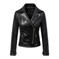 SheIn(sheinside) Black Oblique Zipper PU Moto Jacket ($35) ❤ liked on Polyvore featuring outerwear, jackets, leather jacket, black, coats, polyurethane jacket, pu biker jacket, moto zip jacket, zip jacket and motorcycle jacket