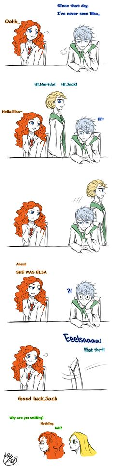Good luck,buddy (doodles) by Lime-Hael on deviantART | Frozen's Elsa and Rise of the Guardians' Jack Frost | Brave's Merida and Tangled's Rapunzel | J.K. Rowling's Harry Potter